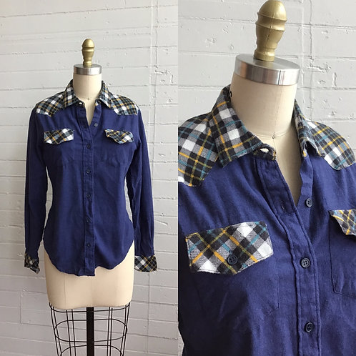 1980s Navy and Plaid Flannel Shirt - Medium