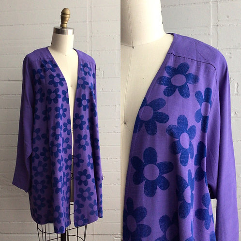 1980s Hand Block Printed Beenanza Cardigan - One size