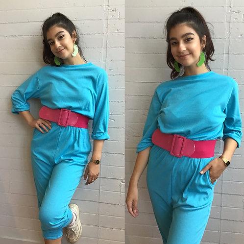 1980s Baby Blue Jumpsuit - Size Medium / Large