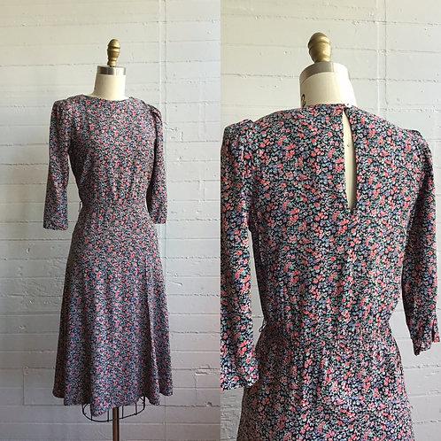 1980s Floral Midi Dress - Small