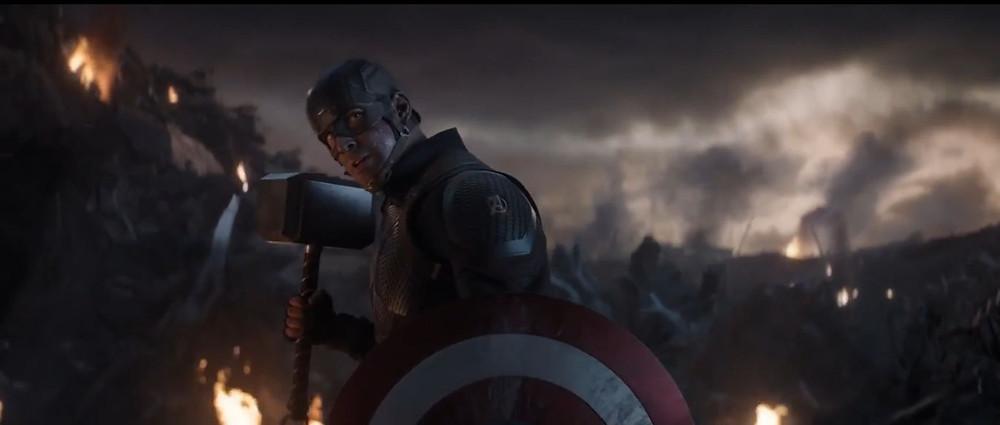 Captain holding Thor's hammer Mjolnir