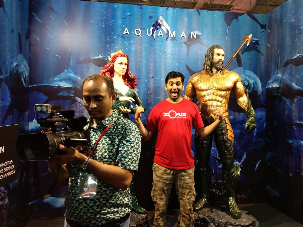 Yours Truly with Aquaman and Vera Comic Con 2018 Bangalore
