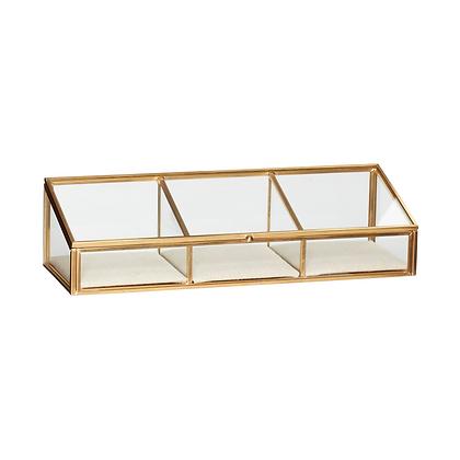 Glasdose Klarglas 3 Fächer mit Leineneinlage