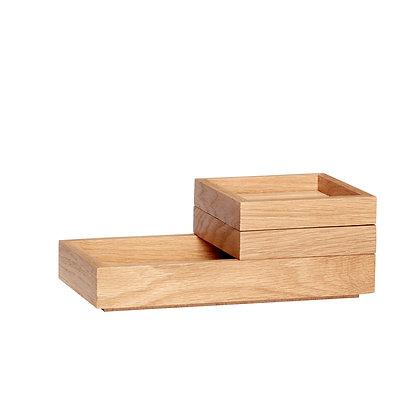 Holzaufbewahrung 3 Teile, stapelbar
