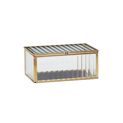 Glasdose Klarglas mit Rillen mittelgroß