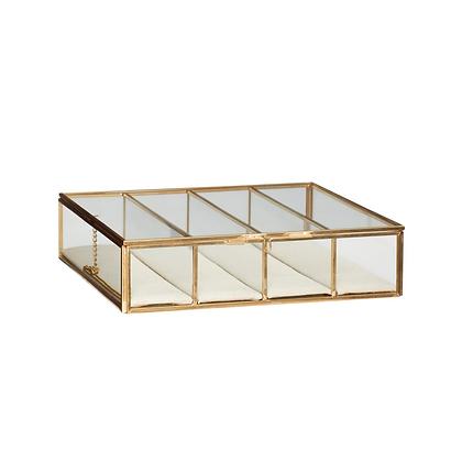 Glasdose Klarglas 4 Fächer mit Leineneinlage