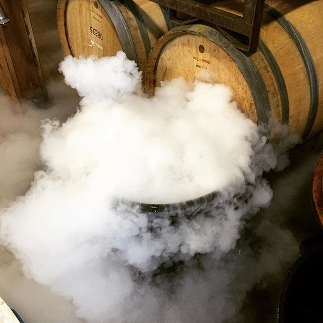 Fun with dry ice today at the winery #winemaking #wine