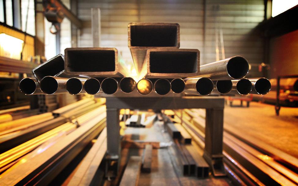 Lengths of tube stacked ready for tube bending