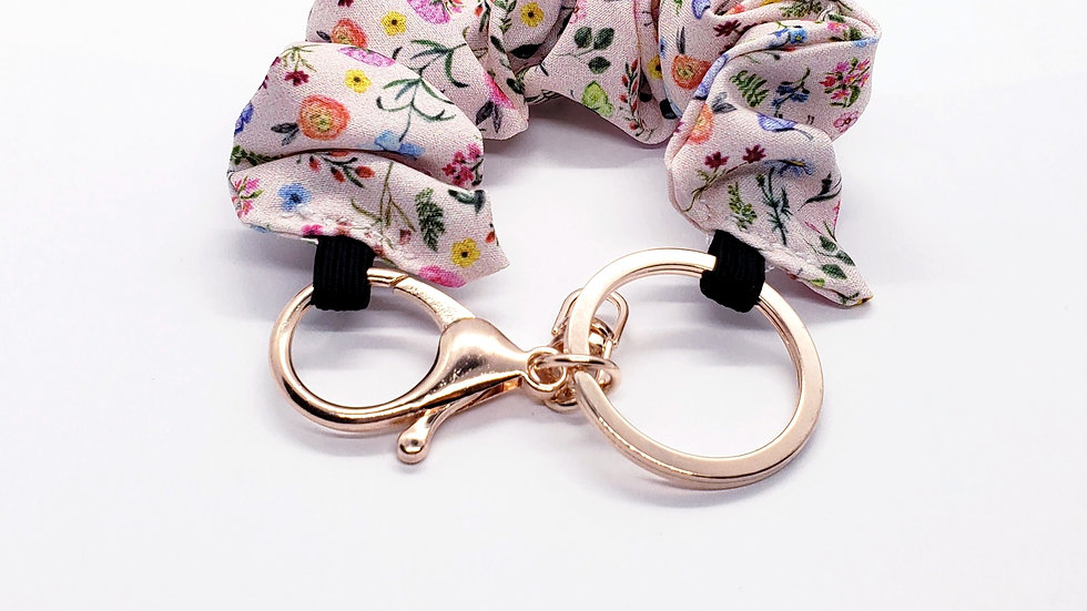 Scrunchie Keychain, Butterfly Flower Field