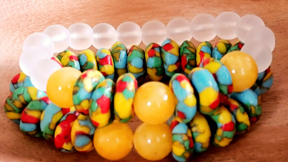 African Glass Bead Bracelet Set
