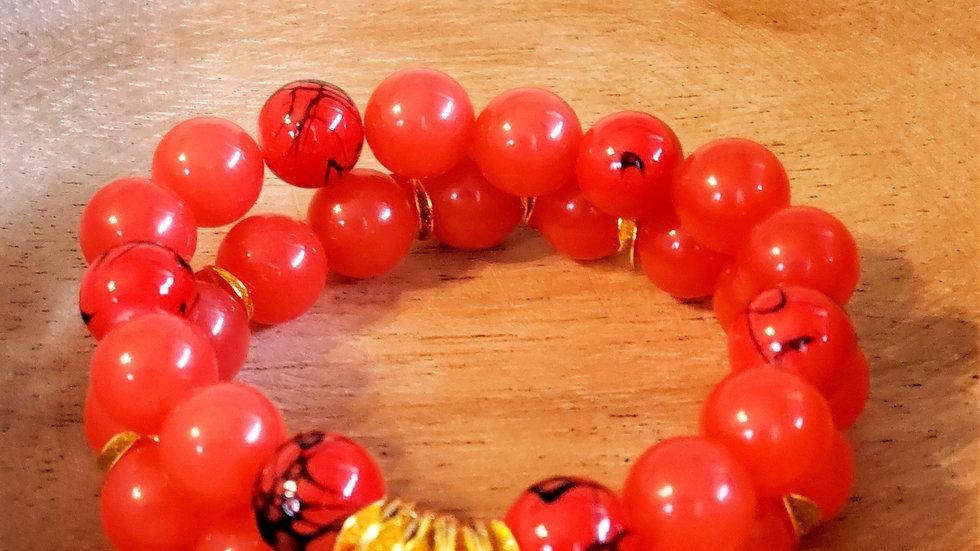 Fire Red Bracelet Set