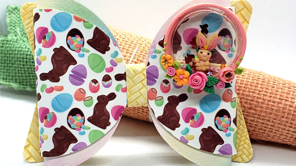 Easter Chocolate Bunny Clay Faux Leather Hair Bow
