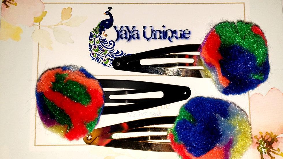 Marbled Rainbow Puff Hair clips