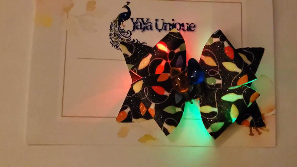 Holiday Lights, Light Up Faux Leather Hair Bows