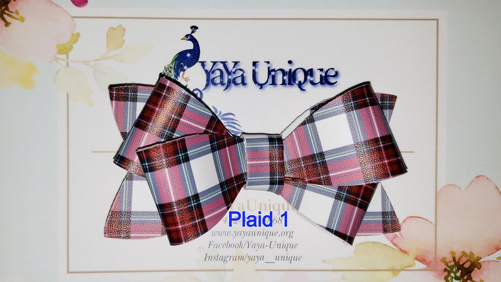 Plaid Holiday Faux Leather Hair Bows