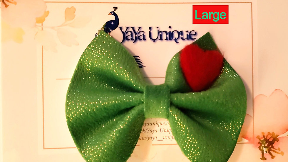 The Mean One Plush Faux Leather Hair Bow