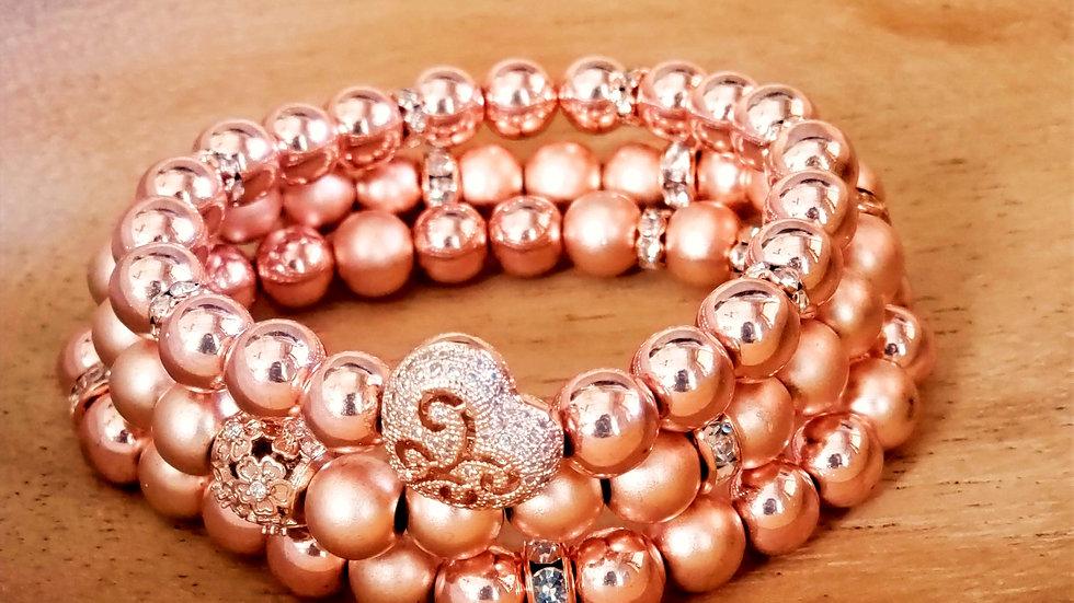 Rose Gold Hematite Bracelet Set