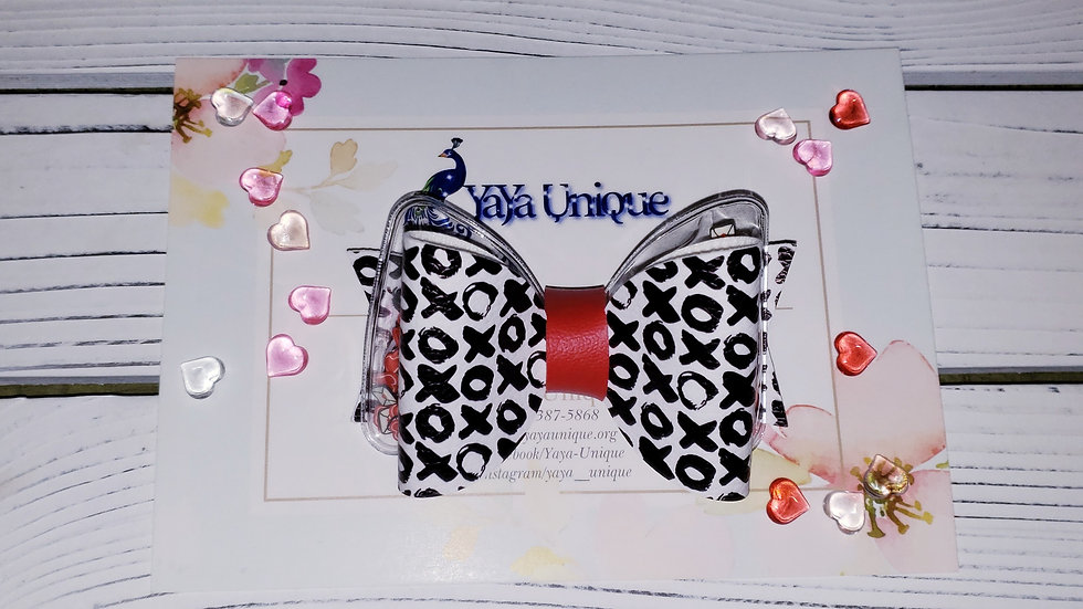 Valentine XOXO Shaker Faux Leather Hair Bows