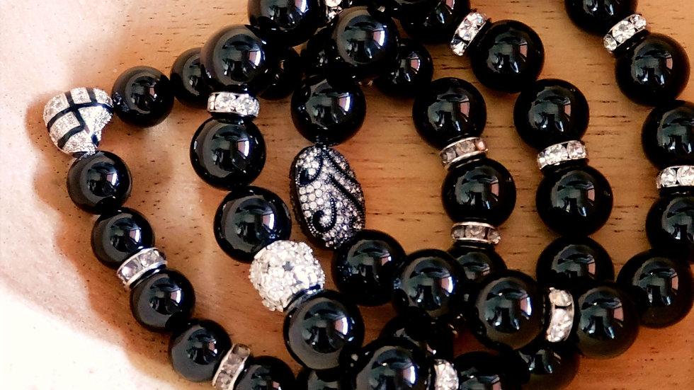 Black Jade Bracelet Set