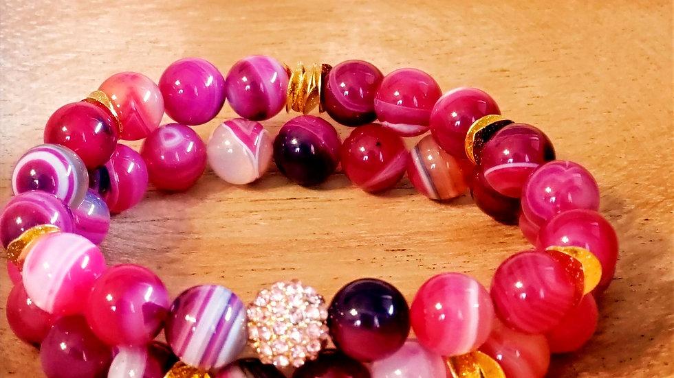 Pink Agate Bracelet Set