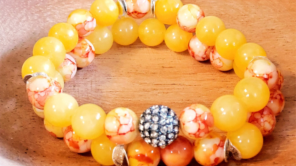 Lemon Yellow Sunset Bracelet Set