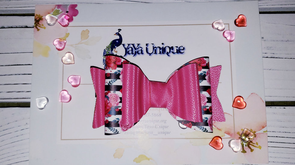 Valentine Rose Stripes Faux Leather Hair Bows