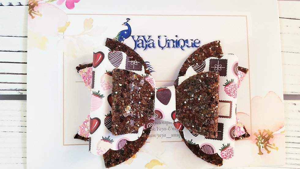 Valentine Box of Chocolates Faux Leather Hair Bow