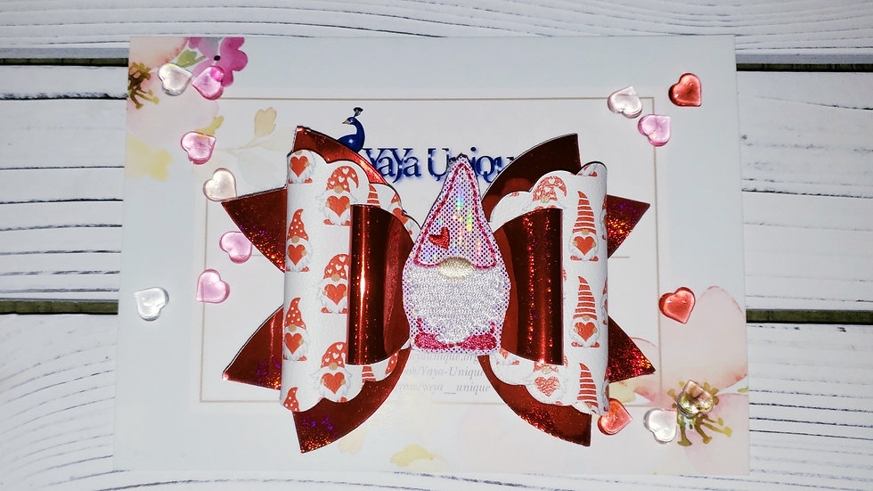 Valentine Gnome Faux Leather Hair Bows