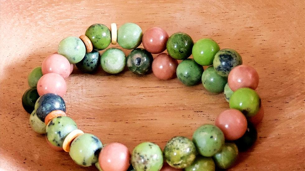Yellow Turquoise, Jade and Bone Bead Bracelet Set