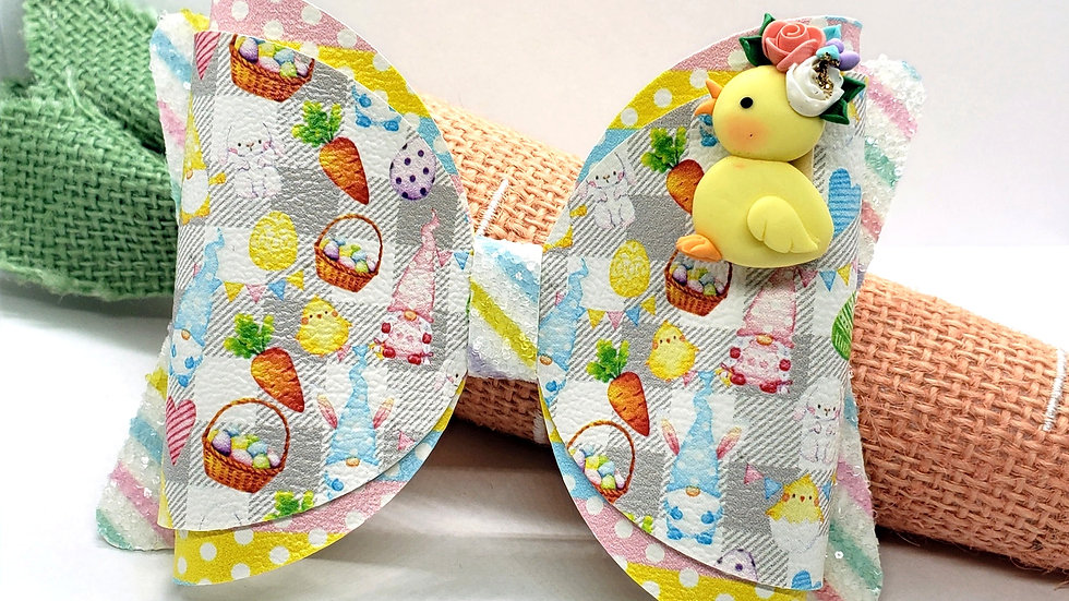 Easter Gnomes and Friends Clay Faux Leather Hair Bow