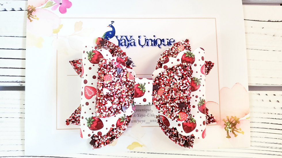 Valentine Chocolate Covered Strawberries Faux Leather Hair Bow