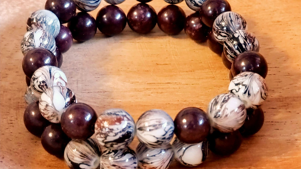 Chocolate Brown Swirl Bracelet Set