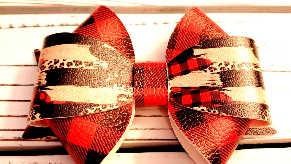 Winter Faux Leather Hair Bows