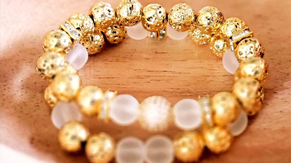 Gold Lava Rock Bracelet Set