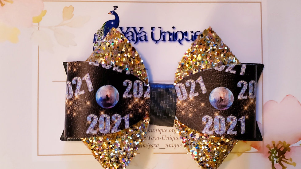 New Year's Faux Leather Hair Bows