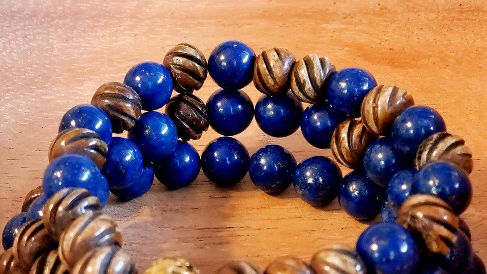 Lapis Lazuli and Carved Bone Bead Bracelet Set