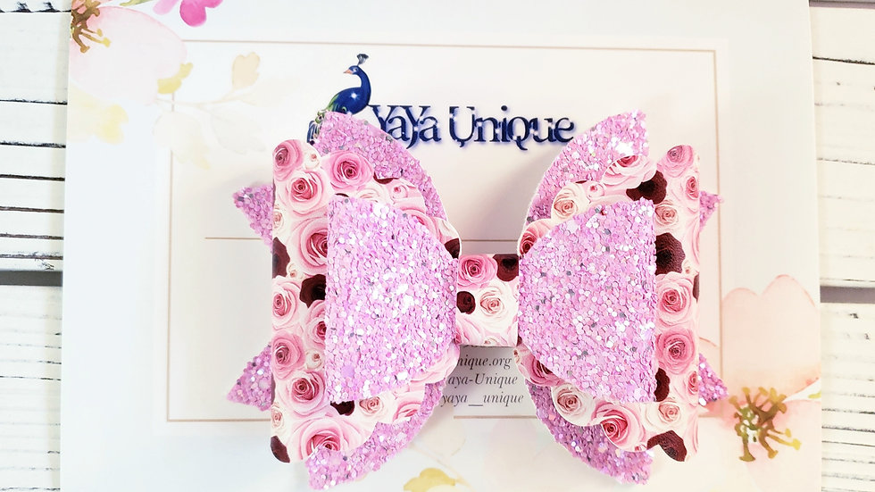 Valentine Roses Faux Leather Hair Bow