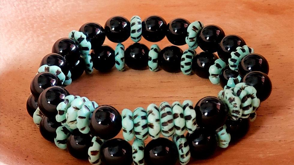 Black Jade and Bone Bead Bracelet Set