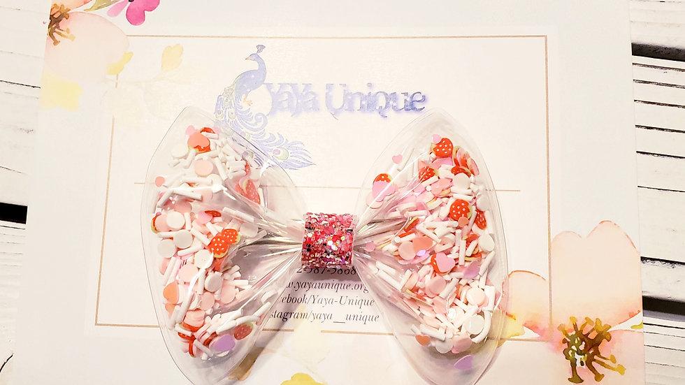 Valentine Strawberries and Cream Shaker Hair Bows