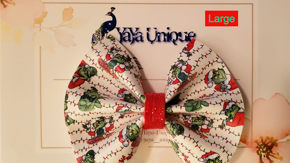 Stealing Christmas Faux Leather Hair Bow