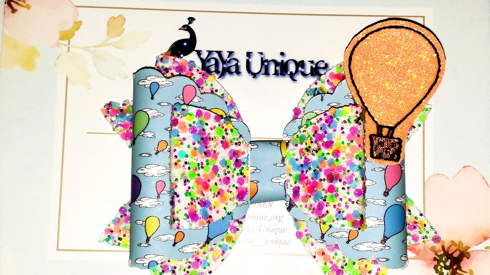 Storybook Balloon Faux Leather Hair Bow