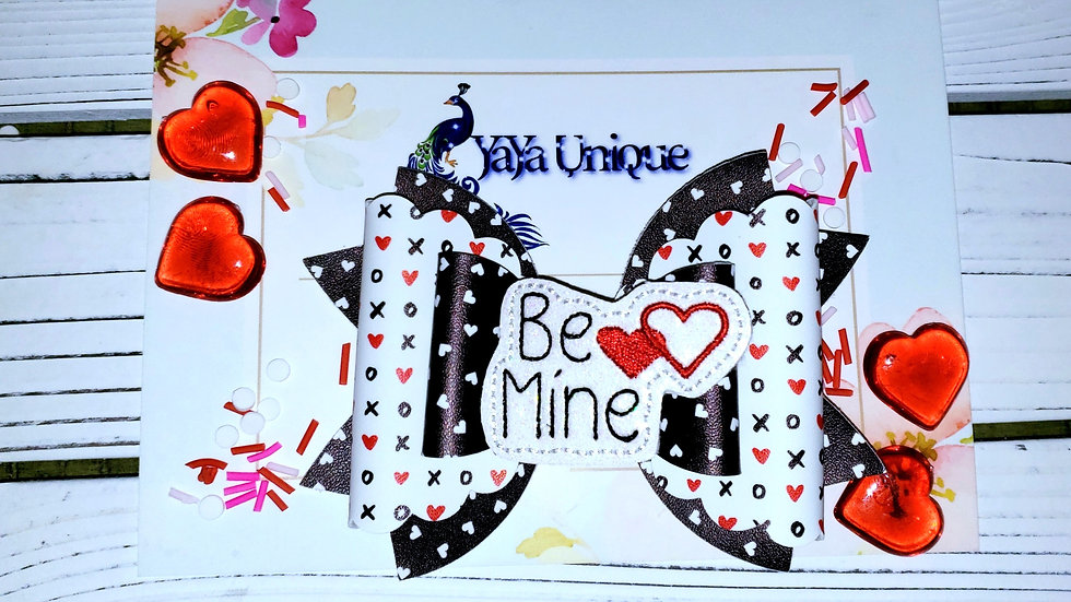 Valentine Be Mine XO Faux Leather Hair Bow