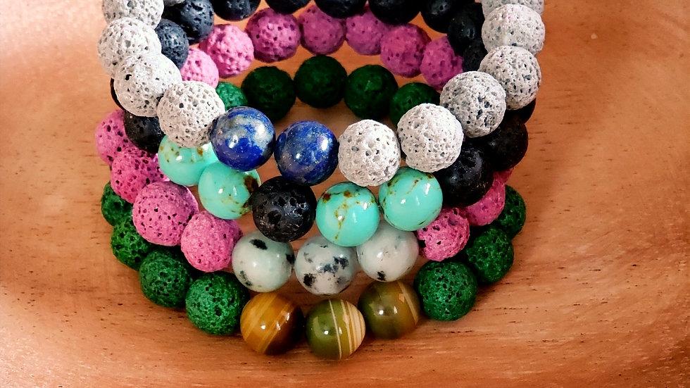 Lava Rock and Gemstone Bead Bracelet