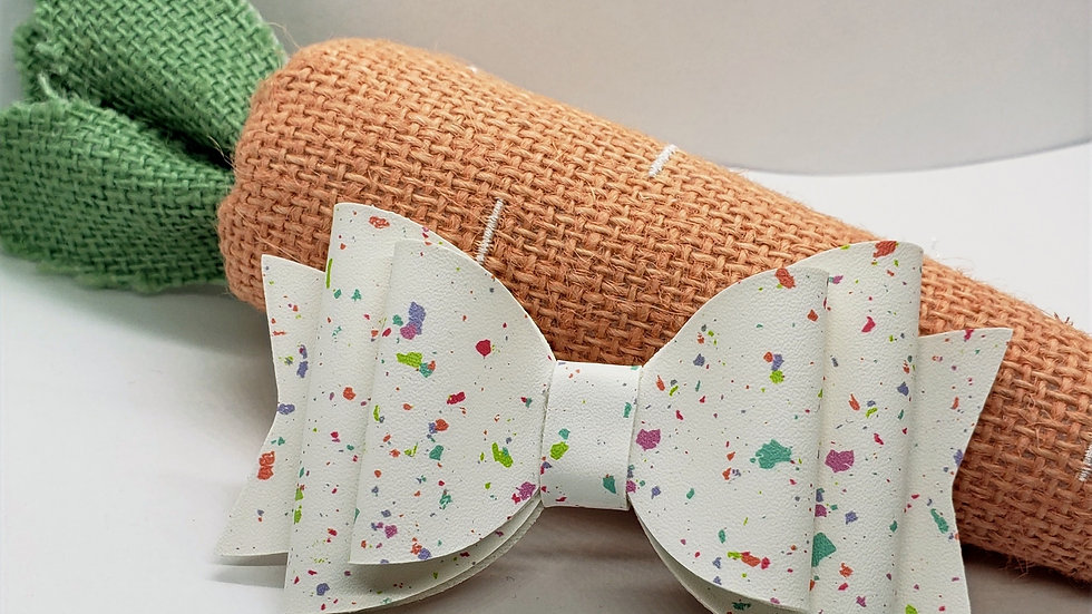 Speckled Easter Egg Faux Leather Hair Bows