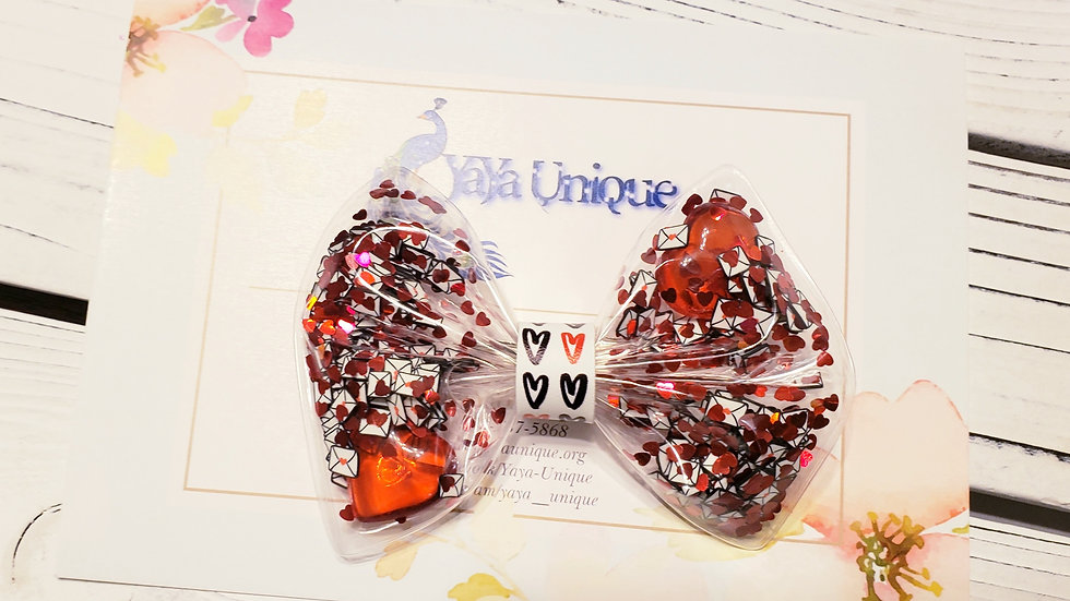 Valentine Love Letter Shaker Hair Bows