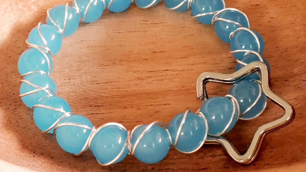 Blue and Silver Wire Wrapped Keychain Bracelet