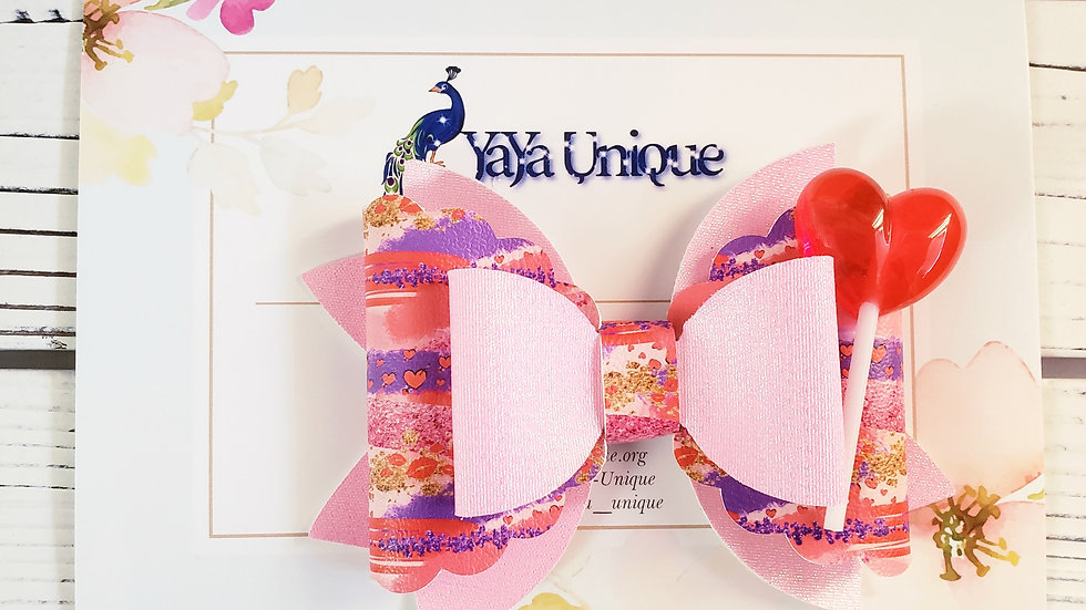 Valentine Brushstroke Faux Leather Hair Bow