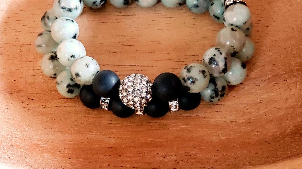 Sesame Jasper and Matte Agate Bracelet Set