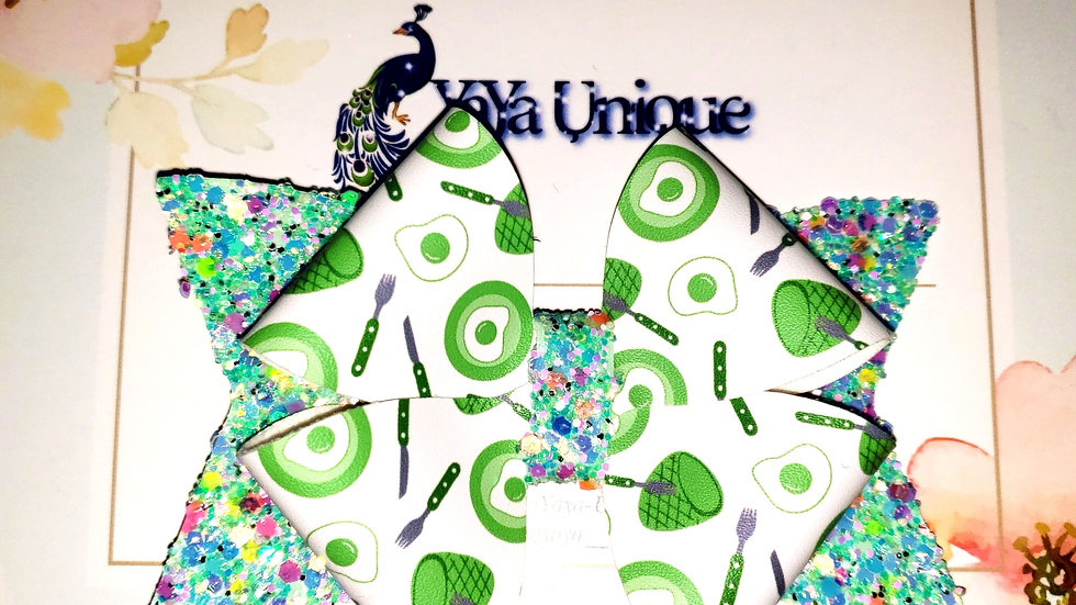 Storybook Green Breakfast Faux Leather Hair Bows