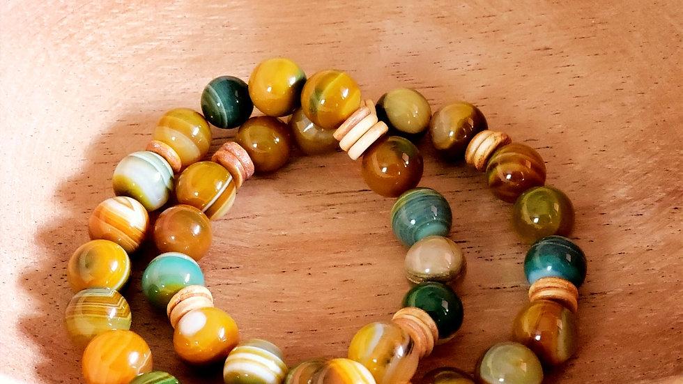 Yellow-green Striped Agate Bracelet Set